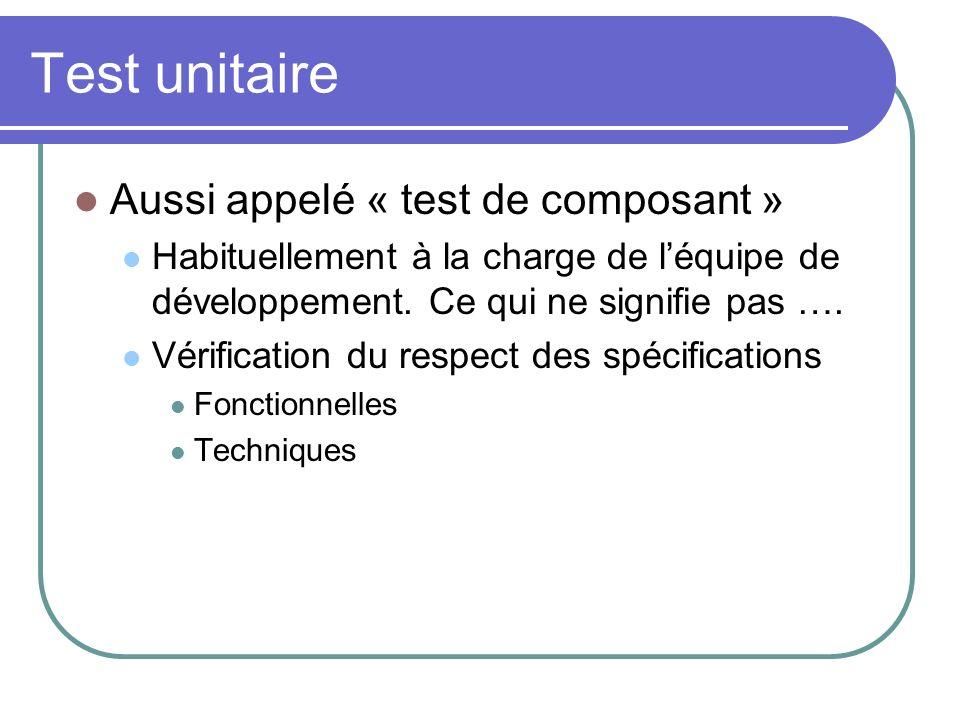Test unitaire Aussi appelé « test de composant » Habituellement à la charge de léquipe de développement. Ce qui ne signifie pas …. Vérification du res