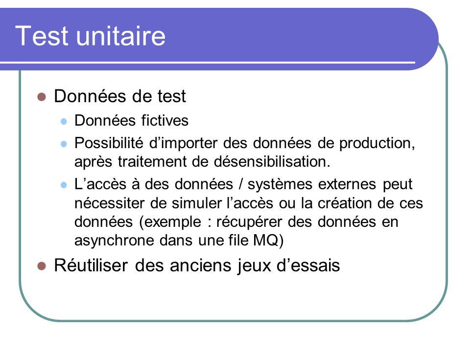 Test unitaire Données de test Données fictives Possibilité dimporter des données de production, après traitement de désensibilisation. Laccès à des do