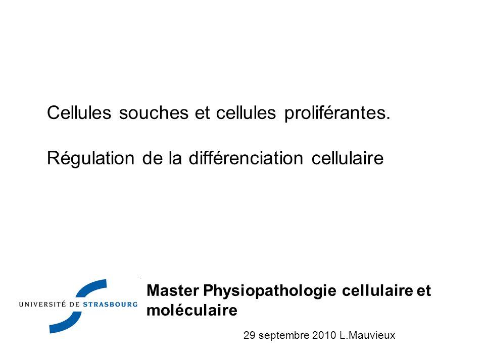 Cellules souches et cellules proliférantes. Régulation de la différenciation cellulaire Master Physiopathologie cellulaire et moléculaire 29 septembre