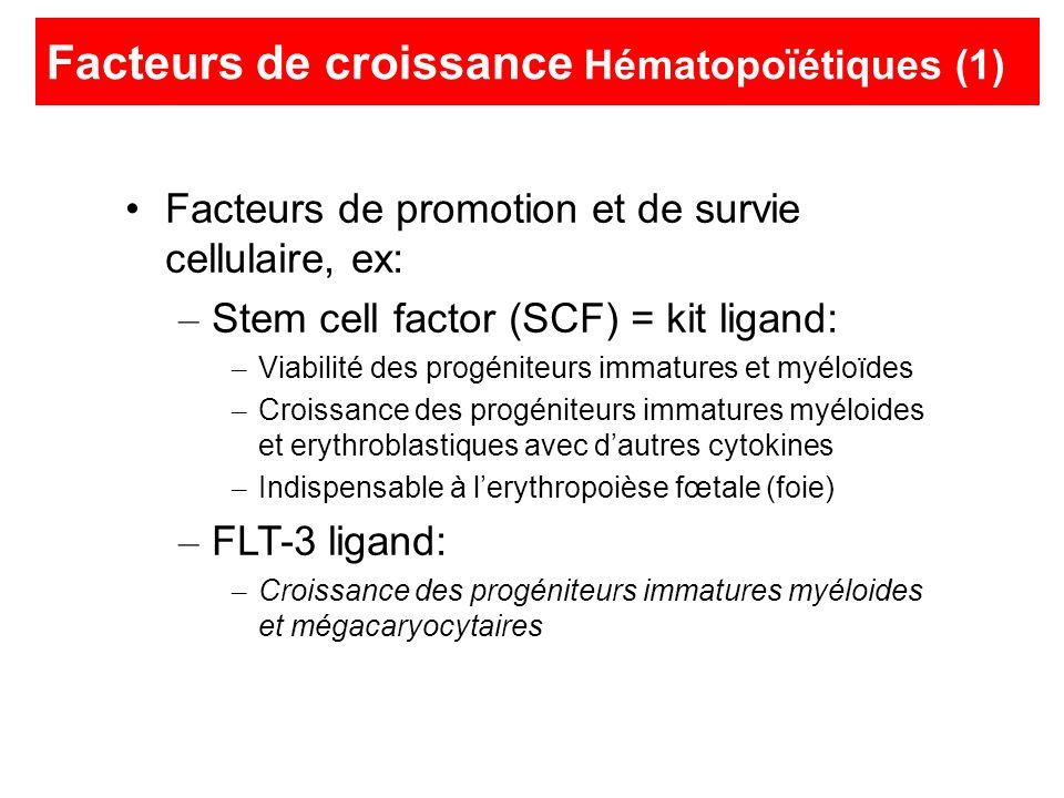 Facteurs de promotion et de survie cellulaire, ex: – Stem cell factor (SCF) = kit ligand: – Viabilité des progéniteurs immatures et myéloïdes – Croiss