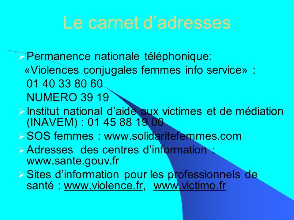Le carnet dadresses Permanence nationale téléphonique: «Violences conjugales femmes info service» : 01 40 33 80 60 NUMERO 39 19 Institut national daid