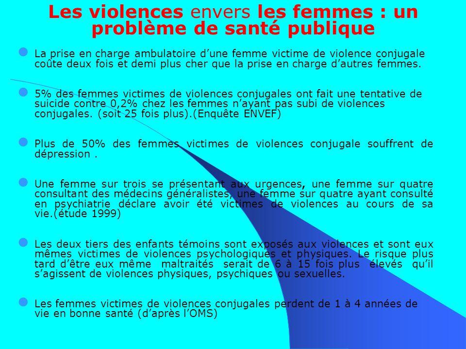 Les violences envers les femmes : un problème de santé publique La prise en charge ambulatoire dune femme victime de violence conjugale coûte deux fois et demi plus cher que la prise en charge dautres femmes.