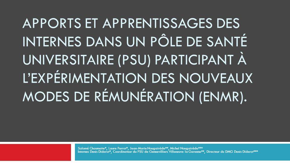 APPORTS ET APPRENTISSAGES DES INTERNES DANS UN PÔLE DE SANTÉ UNIVERSITAIRE (PSU) PARTICIPANT À LEXPÉRIMENTATION DES NOUVEAUX MODES DE RÉMUNÉRATION (ENMR).