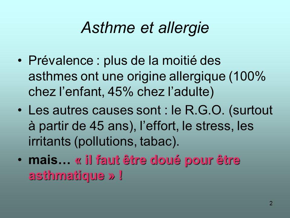 2 Asthme et allergie Prévalence : plus de la moitié des asthmes ont une origine allergique (100% chez lenfant, 45% chez ladulte) Les autres causes son