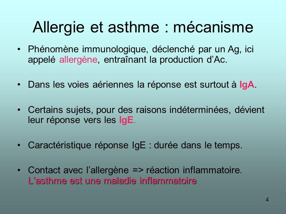 4 Allergie et asthme : mécanisme Phénomène immunologique, déclenché par un Ag, ici appelé allergène, entraînant la production dAc. Dans les voies aéri