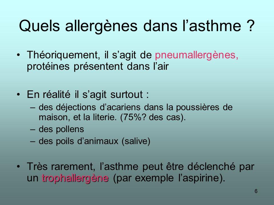 6 Quels allergènes dans lasthme ? Théoriquement, il sagit de pneumallergènes, protéines présentent dans lair En réalité il sagit surtout : –des déject