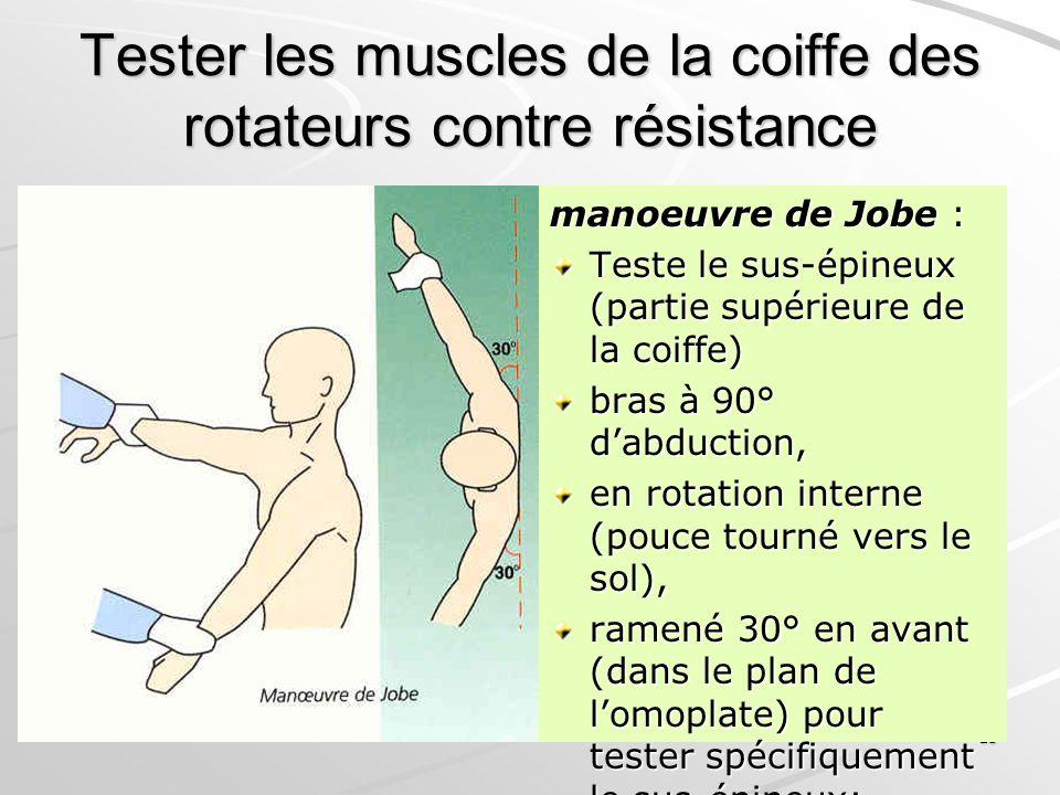 25 Tester les muscles de la coiffe des rotateurs contre résistance manoeuvre de Jobe : Teste le sus-épineux (partie supérieure de la coiffe) bras à 90