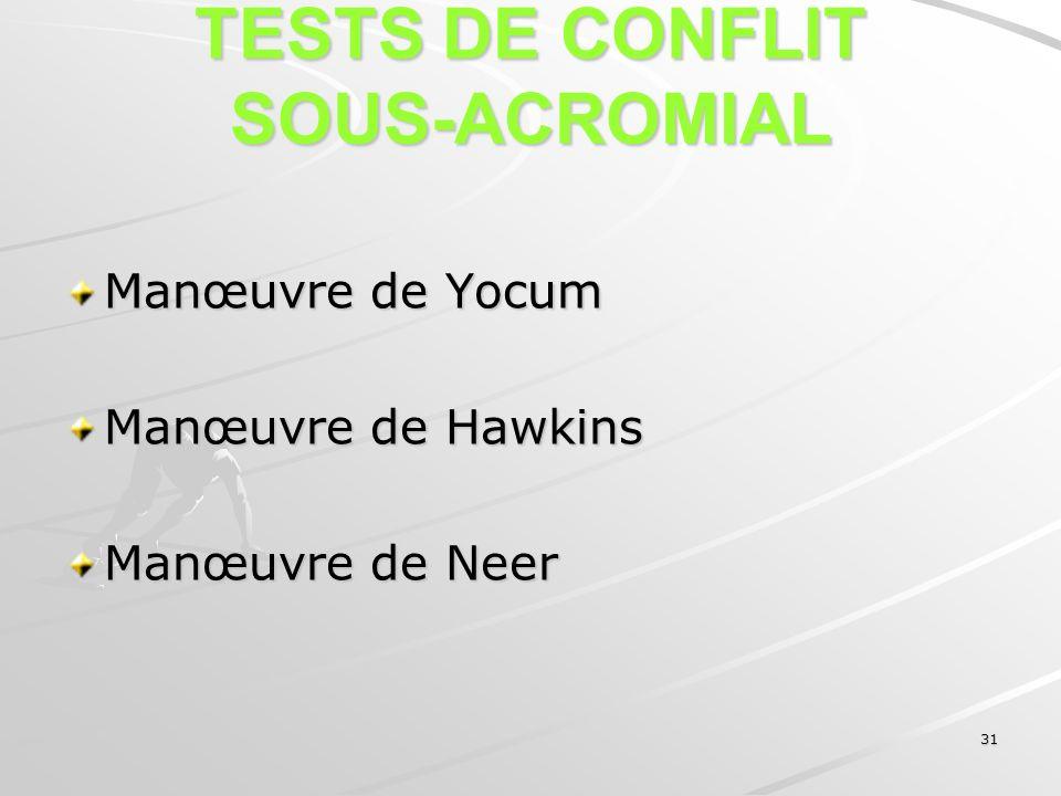 31 TESTS DE CONFLIT SOUS-ACROMIAL Manœuvre de Yocum Manœuvre de Hawkins Manœuvre de Neer