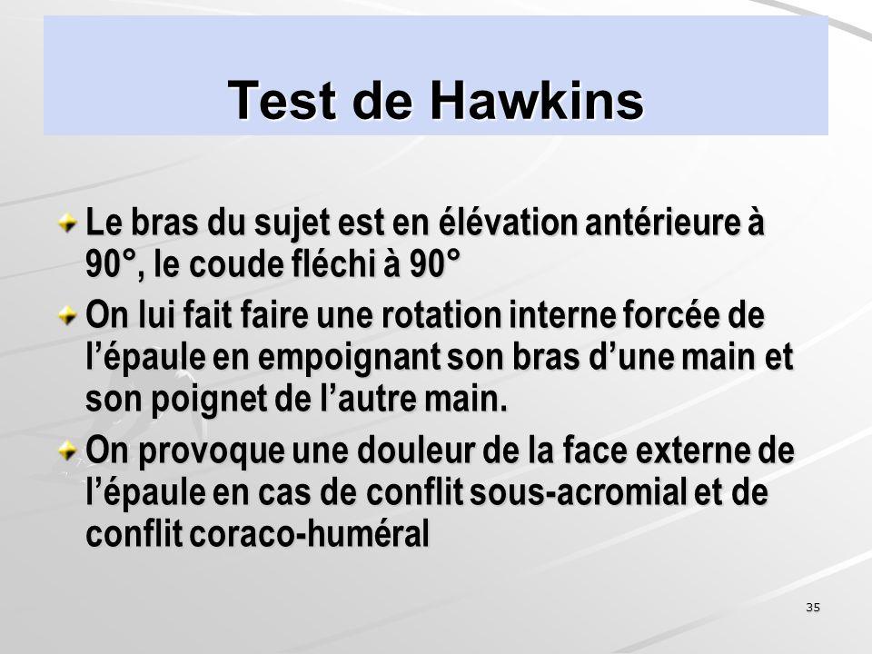 35 Test de Hawkins Le bras du sujet est en élévation antérieure à 90°, le coude fléchi à 90° On lui fait faire une rotation interne forcée de lépaule