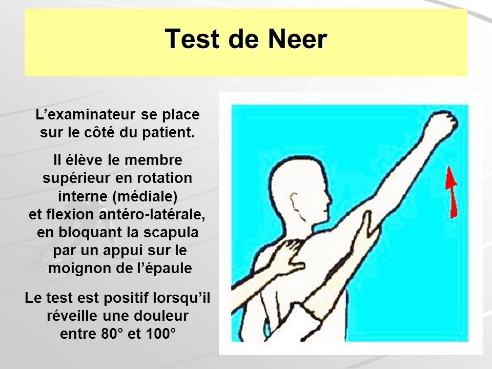 36 Test de Neer Lexaminateur se place sur le côté du patient. Il élève le membre supérieur en rotation interne (médiale) et flexion antéro-latérale, e