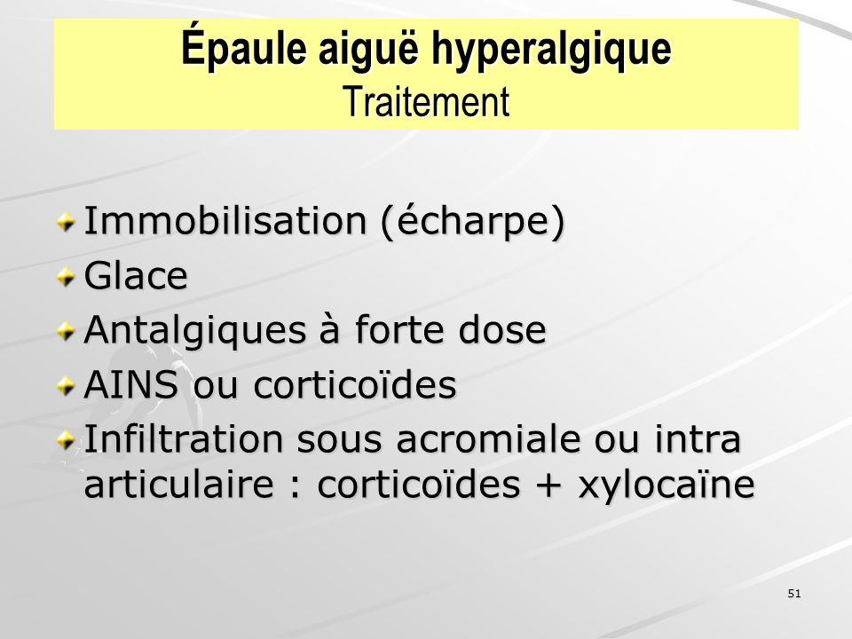 51 Épaule aiguë hyperalgique Traitement Immobilisation (écharpe) Glace Antalgiques à forte dose AINS ou corticoïdes Infiltration sous acromiale ou int