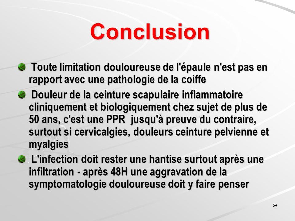 54 Conclusion Conclusion Toute limitation douloureuse de l'épaule n'est pas en rapport avec une pathologie de la coiffe Toute limitation douloureuse d