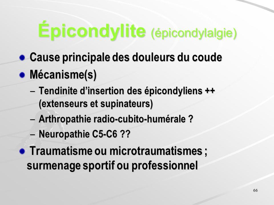 66 Épicondylite (épicondylalgie) Cause principale des douleurs du coude Cause principale des douleurs du coude Mécanisme(s) Mécanisme(s) – Tendinite d