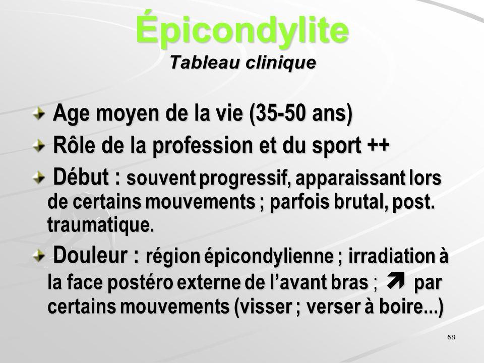 68 Épicondylite Tableau clinique Age moyen de la vie (35-50 ans) Age moyen de la vie (35-50 ans) Rôle de la profession et du sport ++ Rôle de la profe