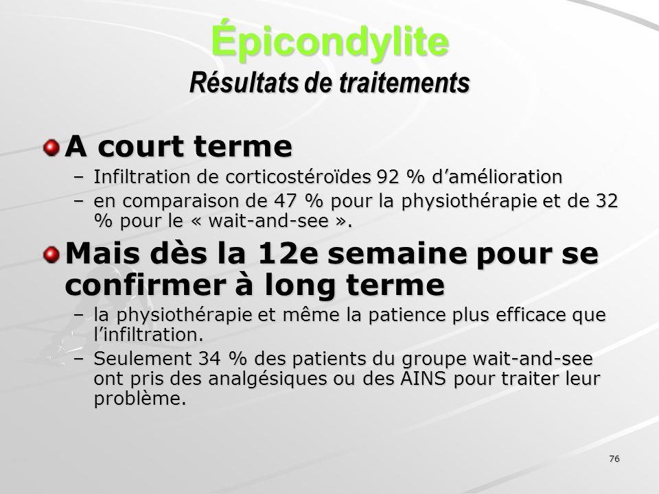 76 Épicondylite Résultats de traitements A court terme –Infiltration de corticostéroïdes 92 % damélioration –en comparaison de 47 % pour la physiothér
