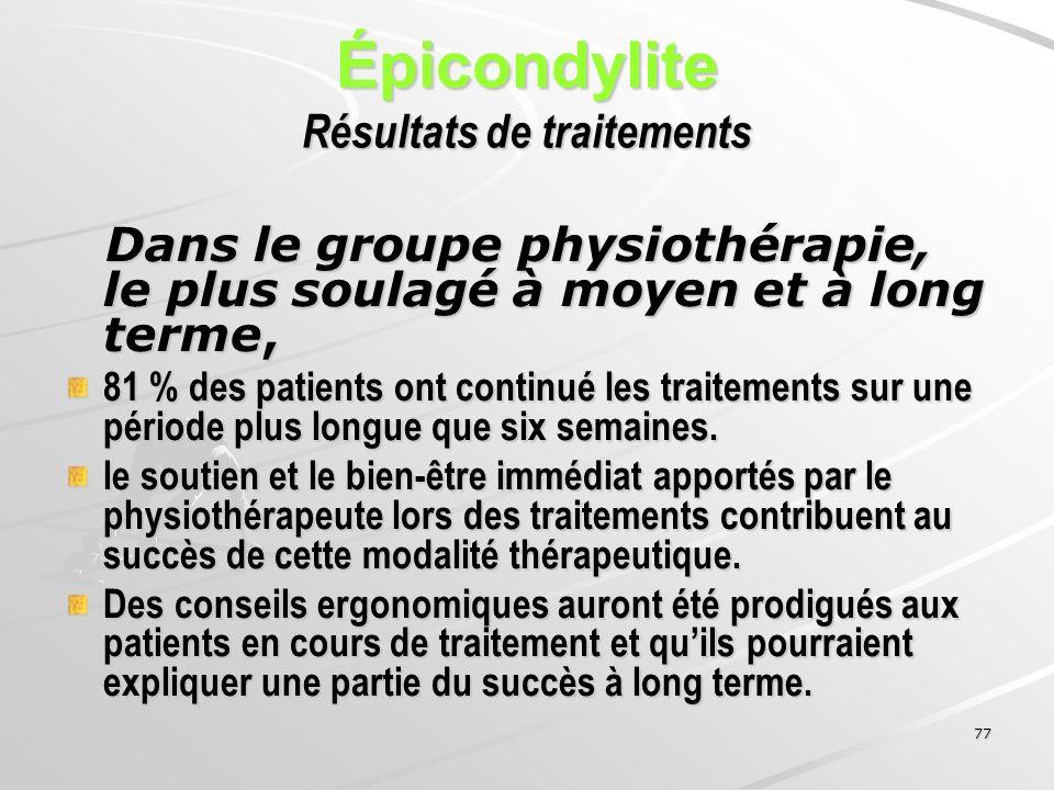77 Épicondylite Résultats de traitements Dans le groupe physiothérapie, le plus soulagé à moyen et à long terme, Dans le groupe physiothérapie, le plu