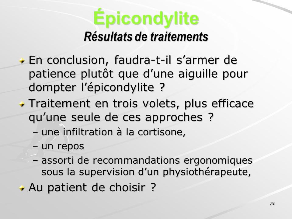 78 Épicondylite Résultats de traitements En conclusion, faudra-t-il sarmer de patience plutôt que dune aiguille pour dompter lépicondylite ? Traitemen