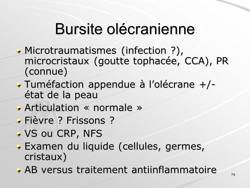 79 Bursite olécranienne Microtraumatismes (infection ?), microcristaux (goutte tophacée, CCA), PR (connue) Tuméfaction appendue à lolécrane +/- état d