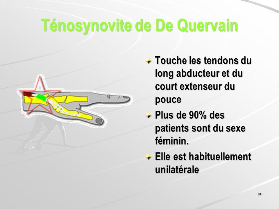 88 Touche les tendons du long abducteur et du court extenseur du pouce Plus de 90% des patients sont du sexe féminin. Elle est habituellement unilatér