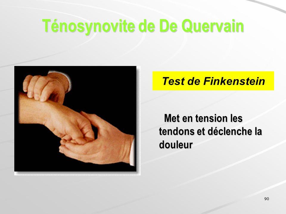 90 Met en tension les tendons et déclenche la douleur Met en tension les tendons et déclenche la douleur Test de Finkenstein Ténosynovite de De Querva