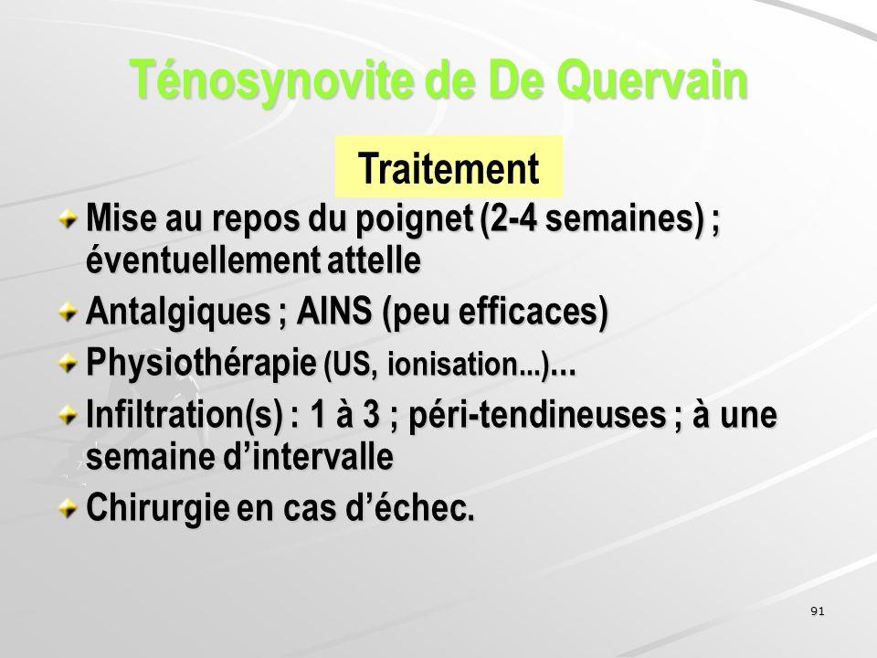 91 Mise au repos du poignet (2-4 semaines) ; éventuellement attelle Antalgiques ; AINS (peu efficaces) Physiothérapie (US, ionisation...)... Infiltrat