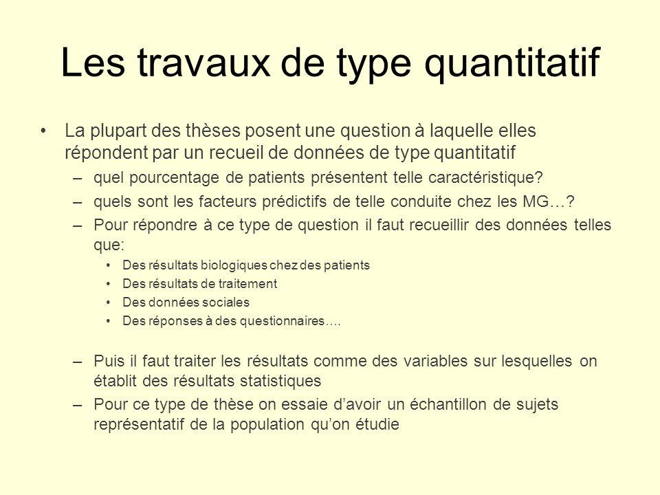 Les travaux de type quantitatif La plupart des thèses posent une question à laquelle elles répondent par un recueil de données de type quantitatif –quel pourcentage de patients présentent telle caractéristique.