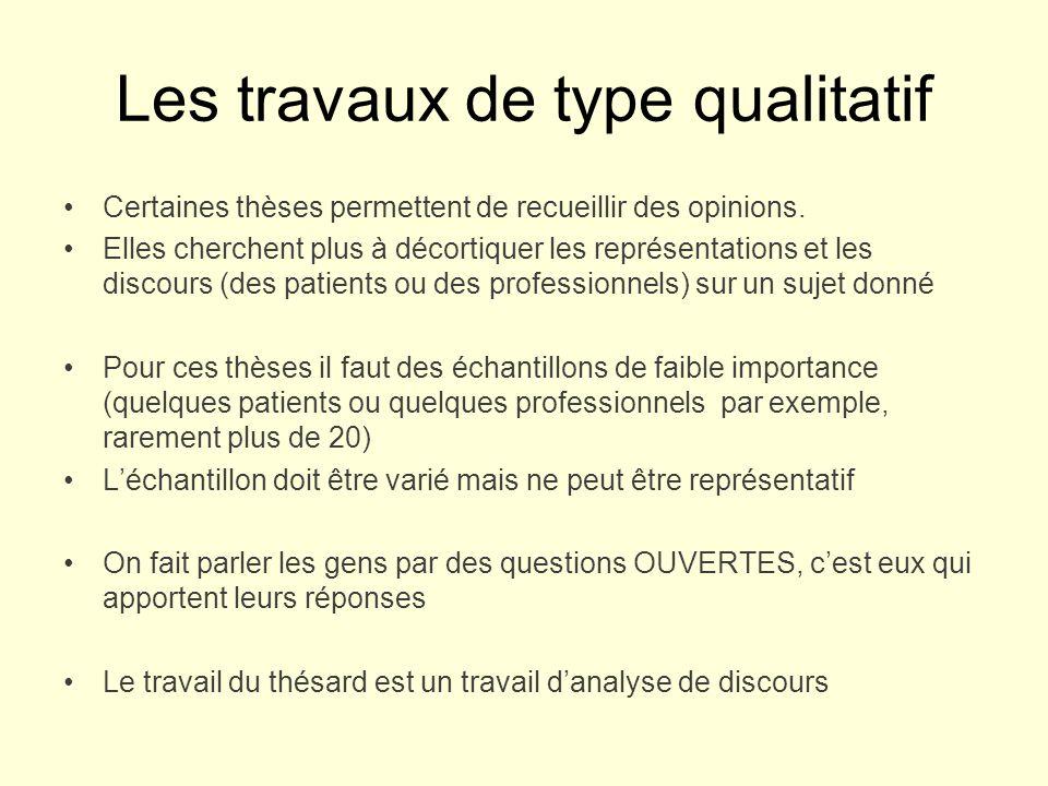 Les travaux de type qualitatif Certaines thèses permettent de recueillir des opinions.