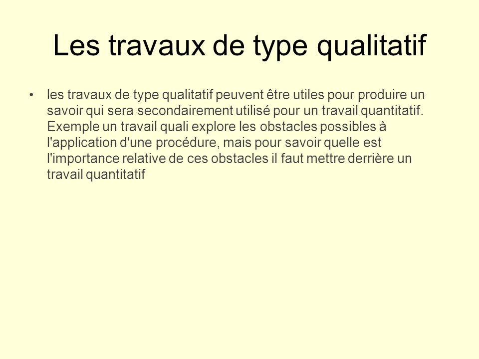 Les travaux de type qualitatif les travaux de type qualitatif peuvent être utiles pour produire un savoir qui sera secondairement utilisé pour un travail quantitatif.