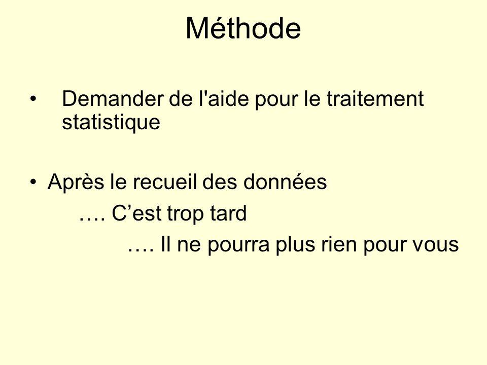 Méthode Demander de l aide pour le traitement statistique Après le recueil des données ….