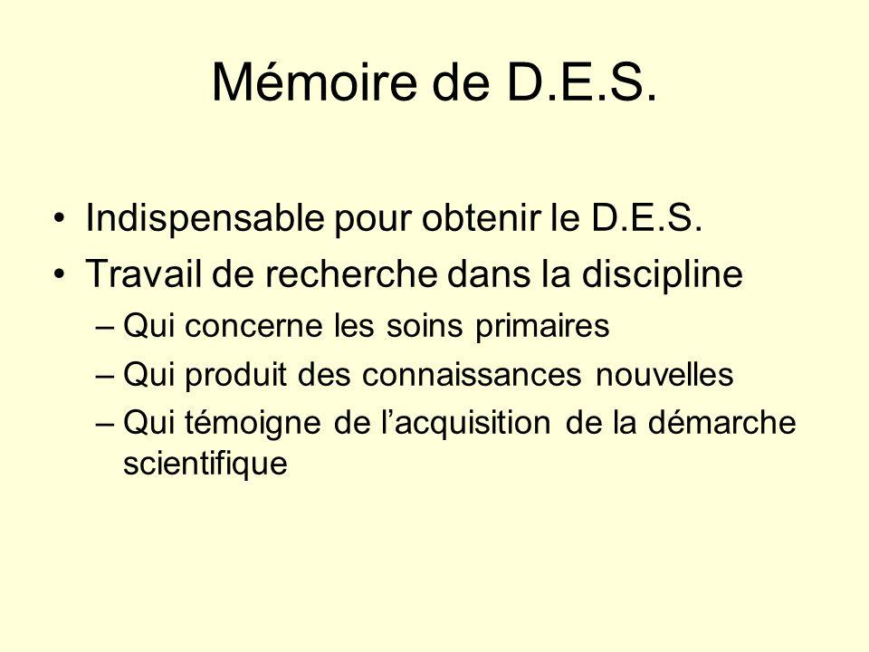 Mémoire de D.E.S.Indispensable pour obtenir le D.E.S.