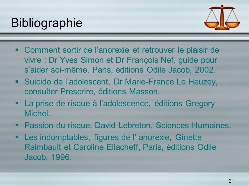 21 Bibliographie Comment sortir de lanorexie et retrouver le plaisir de vivre : Dr Yves Simon et Dr François Nef, guide pour saider soi-même, Paris, é