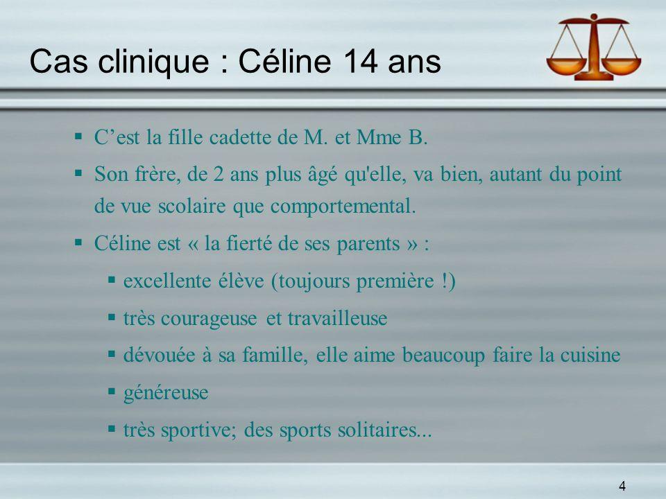 4 Cas clinique : Céline 14 ans Cest la fille cadette de M. et Mme B. Son frère, de 2 ans plus âgé qu'elle, va bien, autant du point de vue scolaire qu