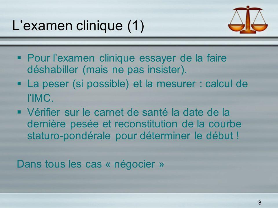 8 Lexamen clinique (1) Pour lexamen clinique essayer de la faire déshabiller (mais ne pas insister). La peser (si possible) et la mesurer : calcul de