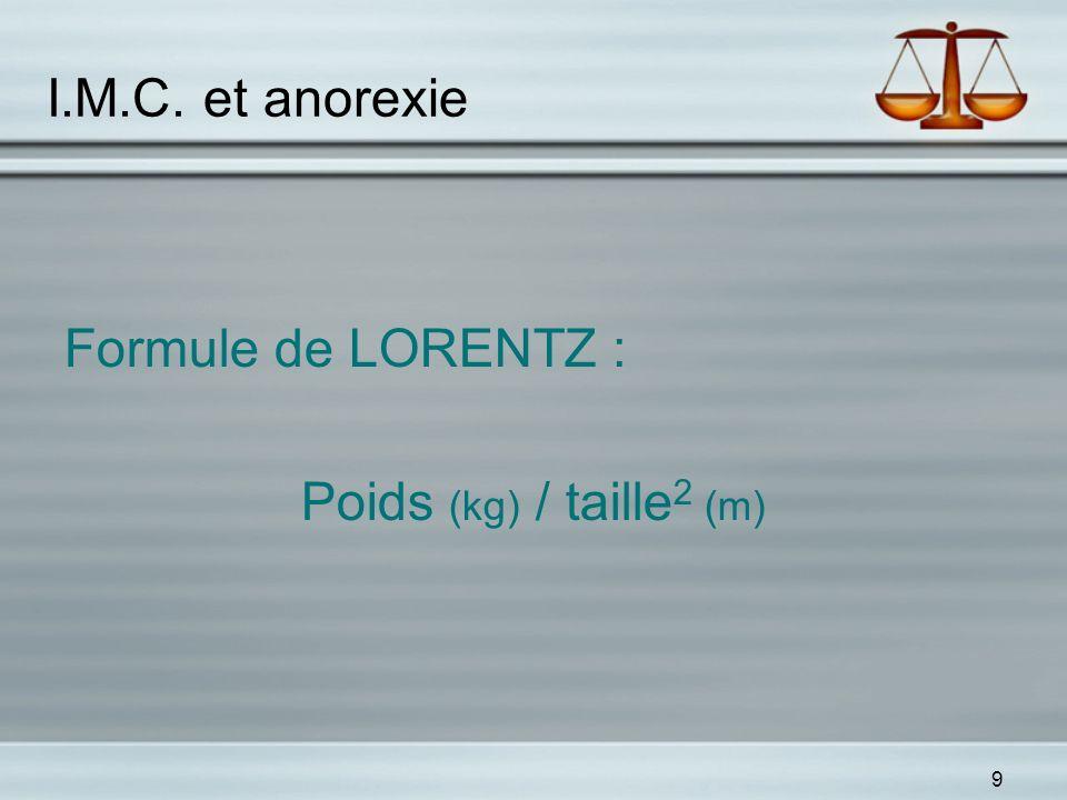 9 I.M.C. et anorexie Formule de LORENTZ : Poids (kg) / taille 2 (m)