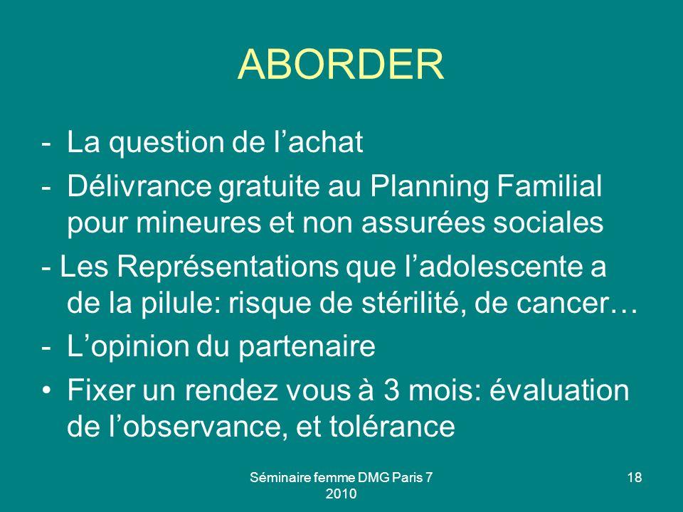 Séminaire femme DMG Paris 7 2010 18 ABORDER -La question de lachat -Délivrance gratuite au Planning Familial pour mineures et non assurées sociales -
