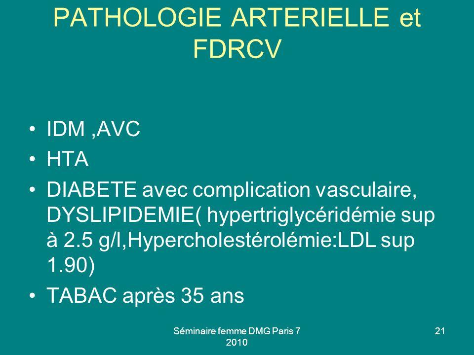 PATHOLOGIE ARTERIELLE et FDRCV IDM,AVC HTA DIABETE avec complication vasculaire, DYSLIPIDEMIE( hypertriglycéridémie sup à 2.5 g/l,Hypercholestérolémie