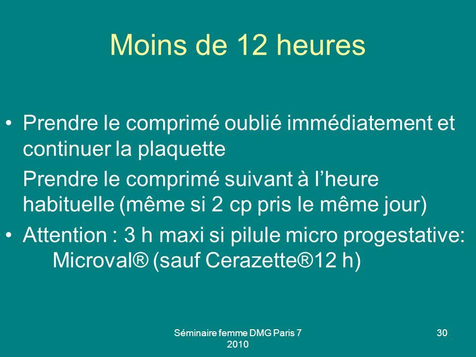 Séminaire femme DMG Paris 7 2010 30 Moins de 12 heures Prendre le comprimé oublié immédiatement et continuer la plaquette Prendre le comprimé suivant