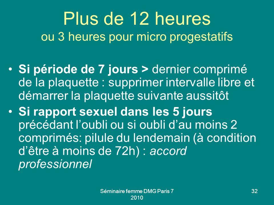 Séminaire femme DMG Paris 7 2010 32 Plus de 12 heures ou 3 heures pour micro progestatifs Si période de 7 jours > dernier comprimé de la plaquette : s