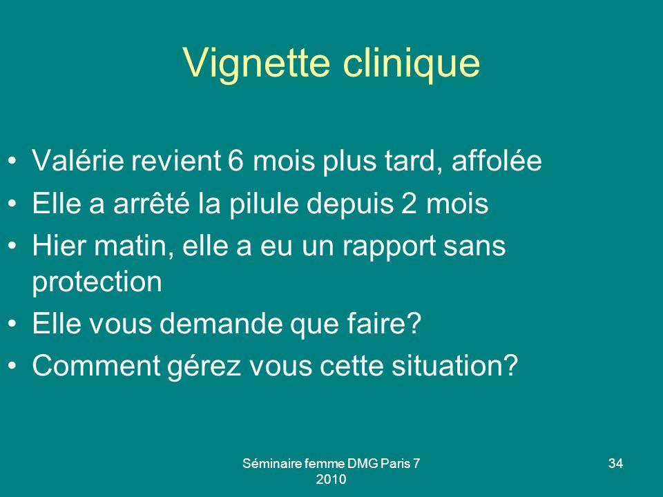 Séminaire femme DMG Paris 7 2010 34 Vignette clinique Valérie revient 6 mois plus tard, affolée Elle a arrêté la pilule depuis 2 mois Hier matin, elle