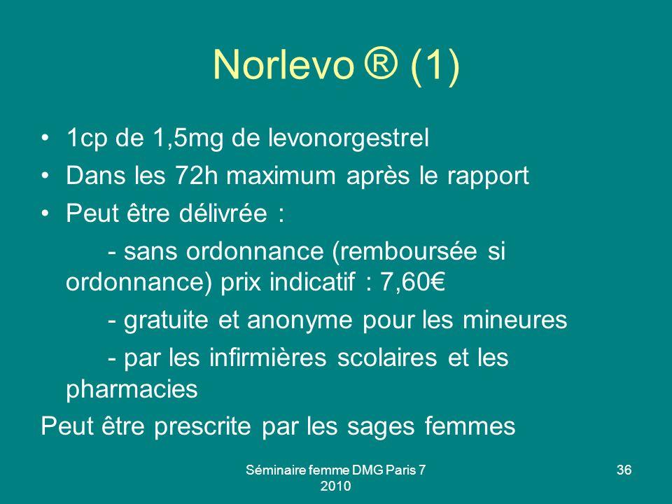 Séminaire femme DMG Paris 7 2010 36 Norlevo ® (1) 1cp de 1,5mg de levonorgestrel Dans les 72h maximum après le rapport Peut être délivrée : - sans ord