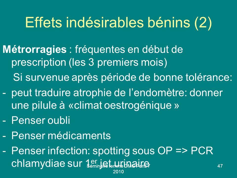 Séminaire femme DMG Paris 7 2010 47 Effets indésirables bénins (2) Métrorragies : fréquentes en début de prescription (les 3 premiers mois) Si survenu