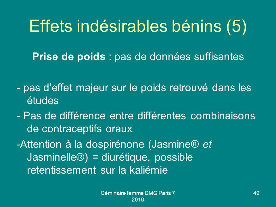 Séminaire femme DMG Paris 7 2010 49 Effets indésirables bénins (5) Prise de poids : pas de données suffisantes - pas deffet majeur sur le poids retrou
