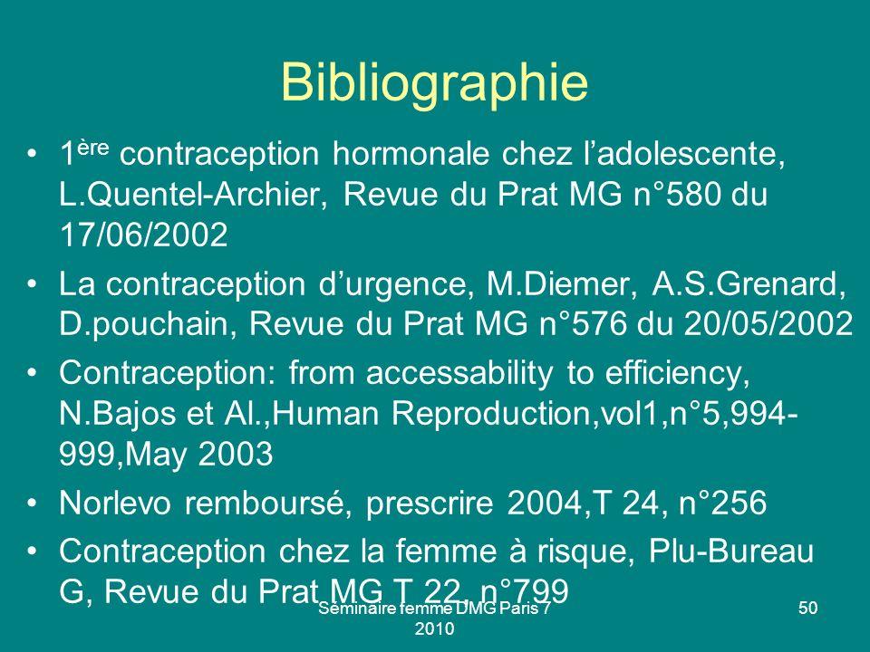 Séminaire femme DMG Paris 7 2010 50 Bibliographie 1 ère contraception hormonale chez ladolescente, L.Quentel-Archier, Revue du Prat MG n°580 du 17/06/