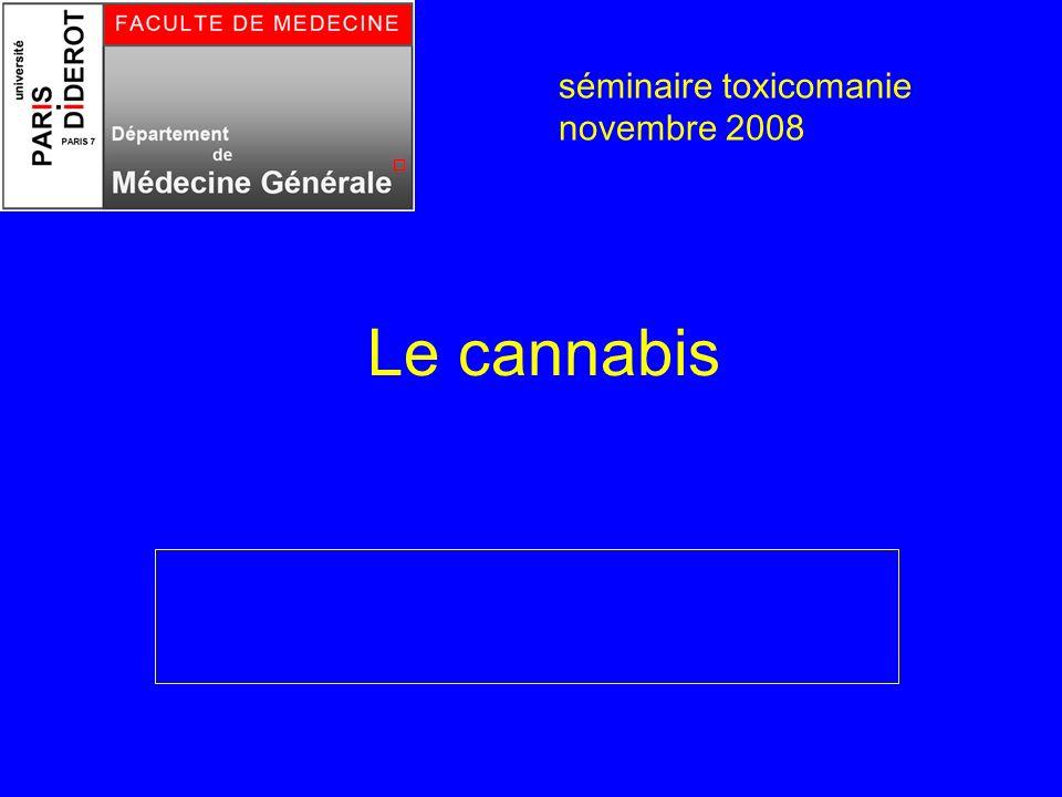 Problèmes neuropsychiques Consommation de cannabis Problèmes neuropsychiques Anxiété, panique Hallucinations Syndrome amotivationnel séminaire toxicomanie novembre 2008
