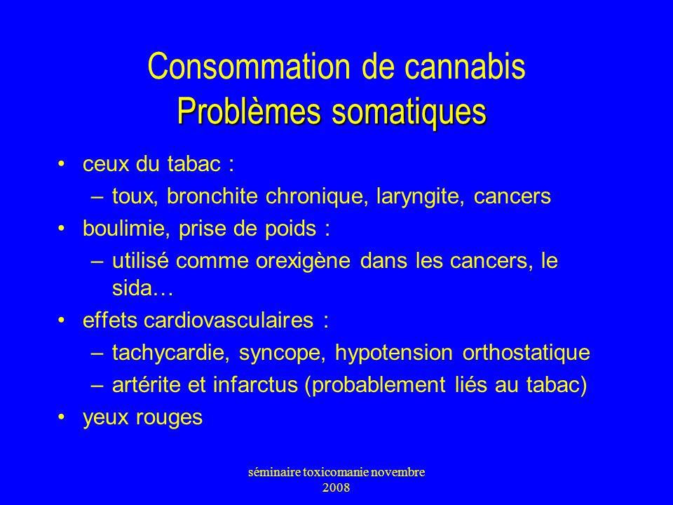 Problèmes somatiques Consommation de cannabis Problèmes somatiques ceux du tabac : –toux, bronchite chronique, laryngite, cancers boulimie, prise de p