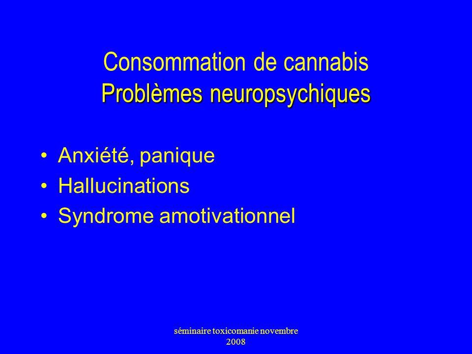 Problèmes neuropsychiques Consommation de cannabis Problèmes neuropsychiques Anxiété, panique Hallucinations Syndrome amotivationnel séminaire toxicom