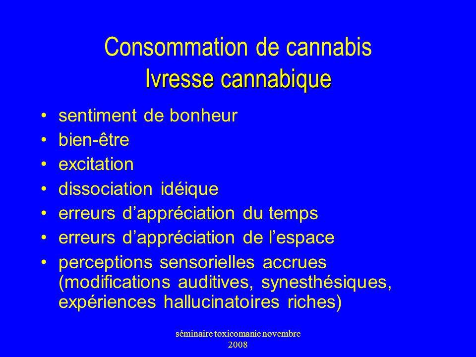 Ivresse cannabique Consommation de cannabis Ivresse cannabique sentiment de bonheur bien-être excitation dissociation idéique erreurs dappréciation du