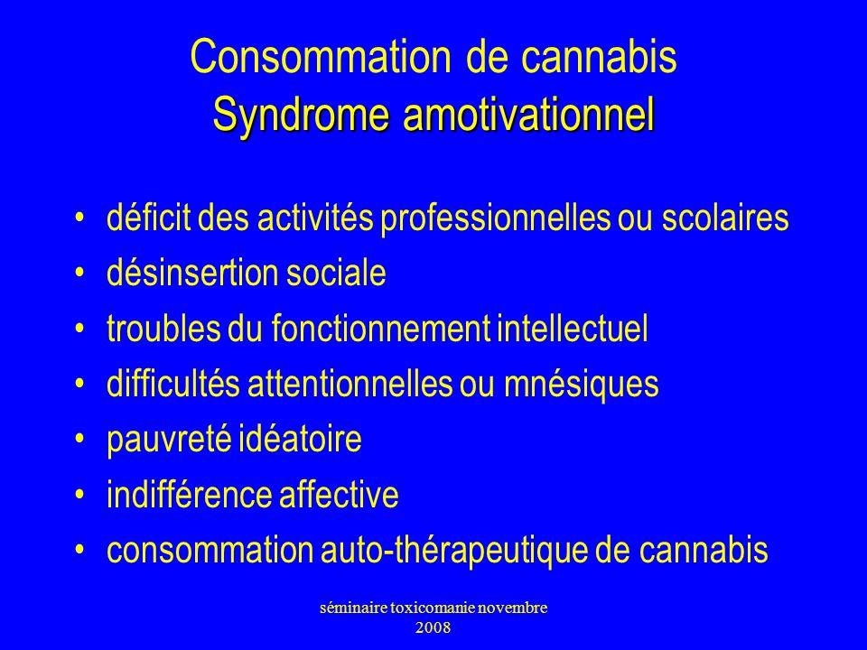 Syndrome amotivationnel Consommation de cannabis Syndrome amotivationnel déficit des activités professionnelles ou scolaires désinsertion sociale trou