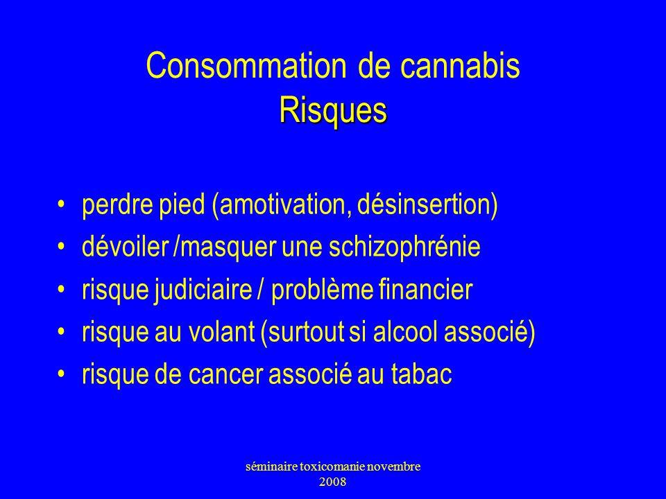 Risques Consommation de cannabis Risques perdre pied (amotivation, désinsertion) dévoiler /masquer une schizophrénie risque judiciaire / problème fina