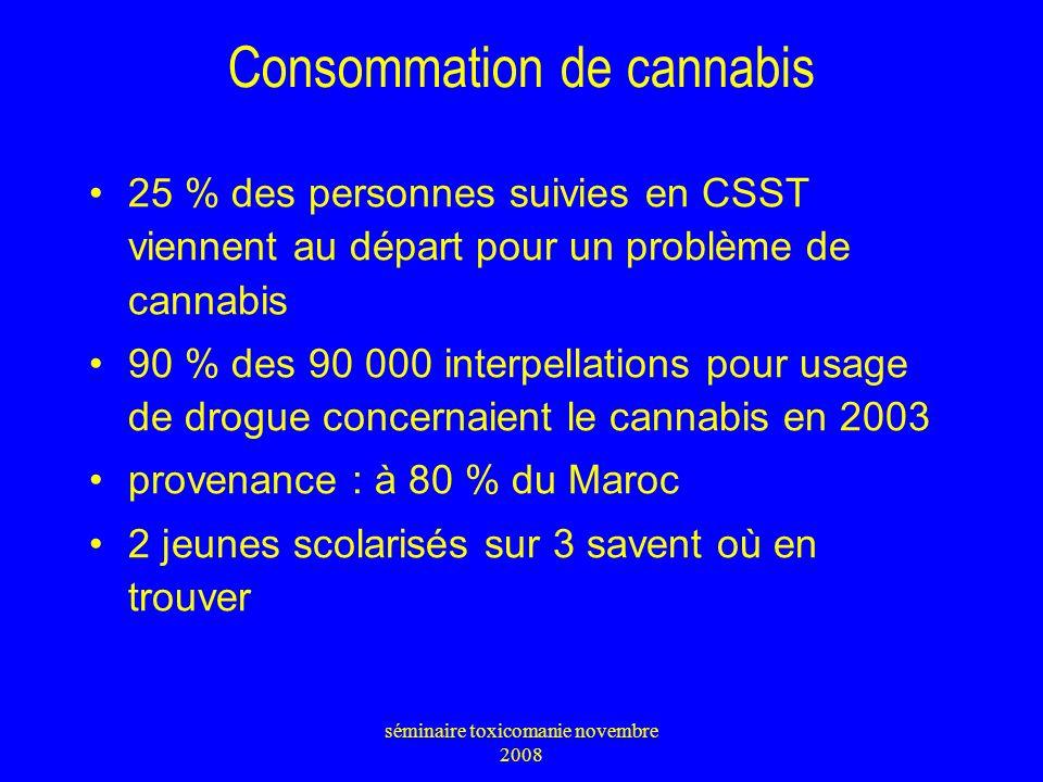 Consommation de cannabis 25 % des personnes suivies en CSST viennent au départ pour un problème de cannabis 90 % des 90 000 interpellations pour usage